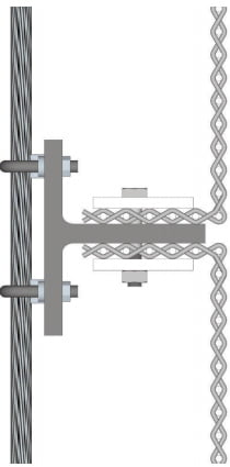 Precrimped mesh on vertical cables installation technique