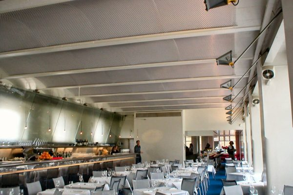 Nelson 16/4 Architectural Mesh installed as a ceiling at The River Café, London.