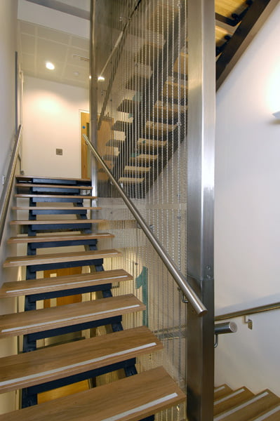 Gladstone PC 80/10 architectural mesh installed as a staircase screen at Plymouth University